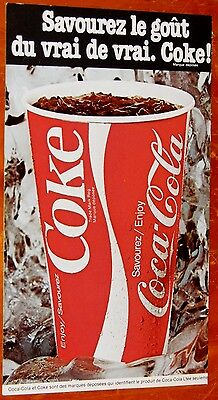 French 1984 Coca Cola Coke Ad + Montreal Canadians Hockey Magazine Cover Backsid