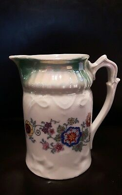 "vintage iridescent pitcher floral pattern Bavaria stamped 5""h"