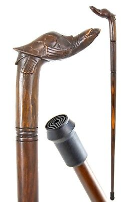 TURTLE wooden walking stick / cane - Hand carved - with FERRULE - BOXED item