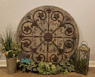 Large Rustic French Country Circular Wood Iron Scrolling Wall  Art Plaque Decor