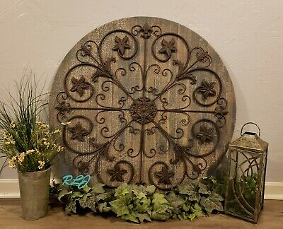 Large Rustic French Country Wood Iron Scrolling Wall Grille Art Plaque Decor NEW