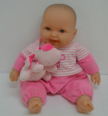 """Berenguer Baby Doll Blue Eyes Pink Outfit Puppy Dog Smiling Reborn 14"""""""
