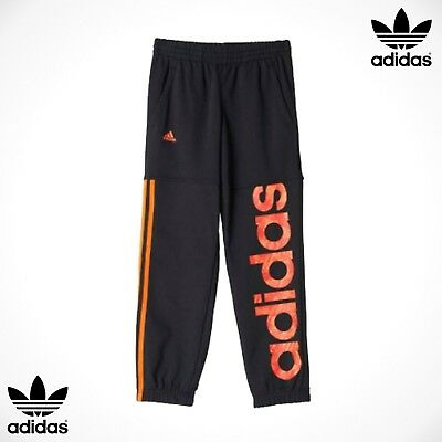 Adidas Sweat Pants Joggers Boys Girls Black Red Age 5-6-7-8-9-10-11-12 Years