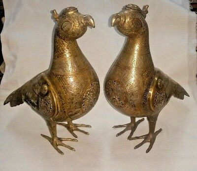 Rare Antique Style Two Islamic Khorasan Seljuke Brass Birds  Inlay Silver.