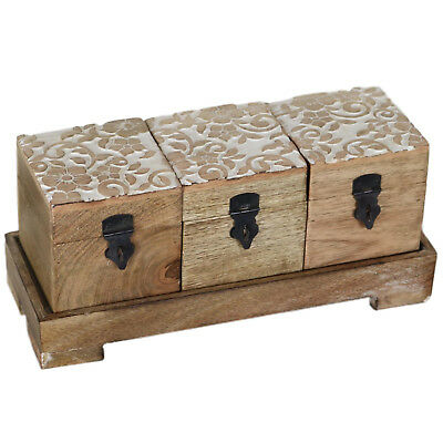 Floral Motif Set of 3 Wood Tea Box with Tray Boxes Wooden TB-02