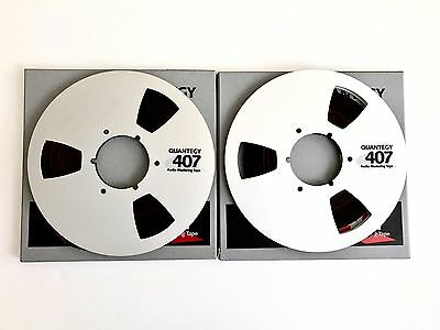 """2 X Quantegy 407 10.5"""" Metal Tape Reels. Boxed With 1/4"""" Tape. Excellent Cond"""
