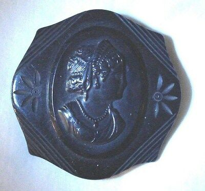 Vintage victorian Solid Black Carved Bakelite Cameo image- Mourning Brooch/ Pin