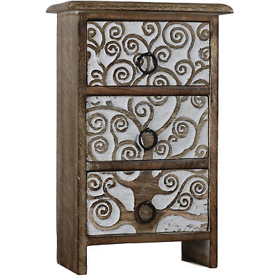 Tree of Life Set Wood Drawers Carved Wooden Mini Box Cabinet Boxes Chest 3D-01