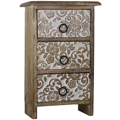 Floral Motif Set of Wood Drawers Carved Wooden Mini Box Cabinet Boxes 3D-02