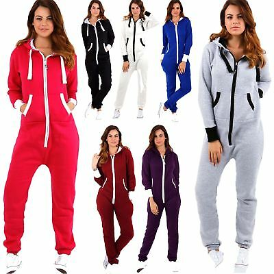 Adult Ladies Plain Aztec Zip Hooded Jumpsuit Womens All In One Pyjamas Playsuit