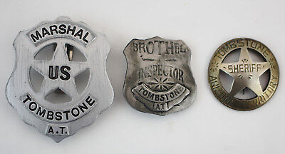 3 Tombstone Badges US Marshall Brothel Inspector and Sheriff - Rare Collection