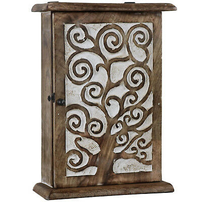 Tree of Life Key Box Holder Cabinet Wood Wooden Antique White Hook KB-01