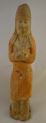 """Ancient Chinese Tang dynasty Guardian/Attendant Tomb Figure 7th/9th cent. 10"""" t."""