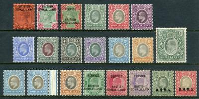 Somaliland QV, EDVII Mint Lot. Values to 1R.