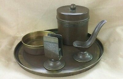 Bradley and Hubbard Smoking Set Arts and Craft Leather Bronze Brass
