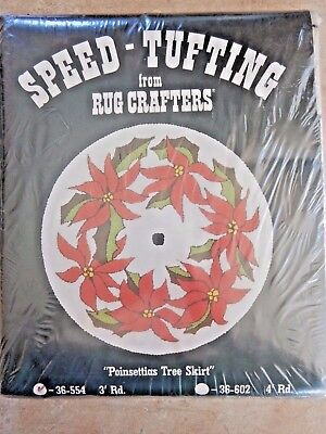 VTG NEW 1980 Speed Tufting Canvas 3' Poinsettias Tree Skirt Rug Crafters Sealed