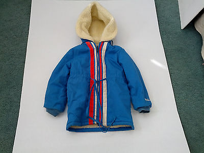 vintage girls weather tamer blue hooded sherpa lined zip up coat jacket size 8