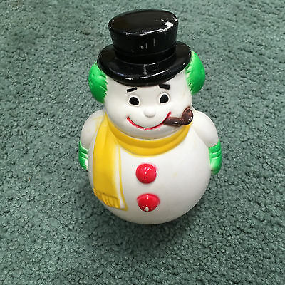vintage plastic roly poly Christmas snowman made in Japan