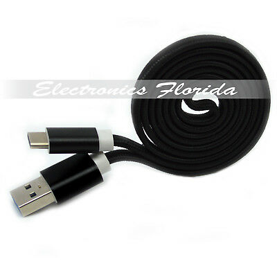 1FT Flat Nylon Braided USB-Type-C 3.1 Data Sync Charger Charging Cable Black