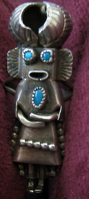 Navajo Orville Manygoats Kachina Ring Sterling Silver Turquoise Size 5.75