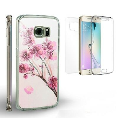 For Galaxy S6 Transparent Full Body Front Back Protector Case Sakura Flower