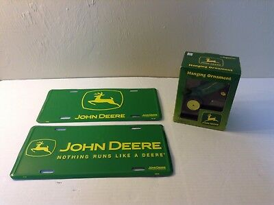 Lot Of 3 Various New John Deere Ornament And License Plates       #1349