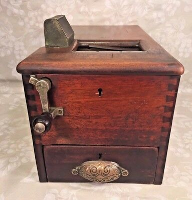Antique Wooden Cash Register or Till with Key Sliding Drawer with Bell Chime