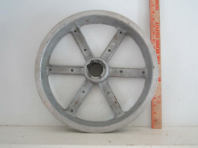 "Vintage Cast Aluminum V Belt Wheel Pulley Gear 15"" diameter Industrial Steampunk"