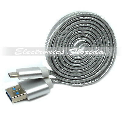 3FT Flat Nylon Braided USB Type-C 3.1  Data Sync Charger Charging Cable Silver