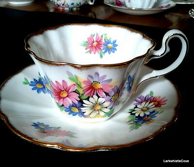 Adderley 1947 Pink Blue Daisy Teacup & Saucer Brushed Gold Tea Cup & Saucer H686