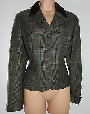 Laura Ashley Vintage Country Style 100% Wool Velvet Collar Hunting Jacket 12 UK
