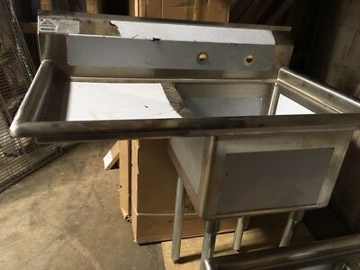 """Advance Tabco One-Bay Sink w/Left Drainboard - 18"""" x 18"""" x 12"""" bay - NEVER USED"""