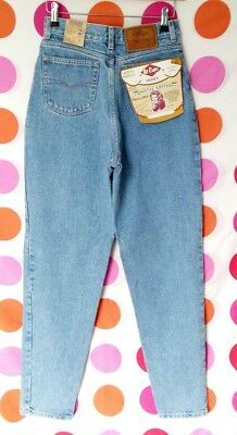 "Vintage BNWT Lee High Waisted Tapered Stonewash Mom Jeans 8 10 W 27"" Deadstock"