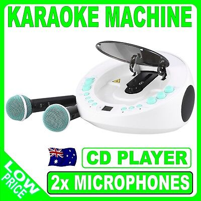 Teal And White Karaoke Machine Portable CD Player System 2x Microphone