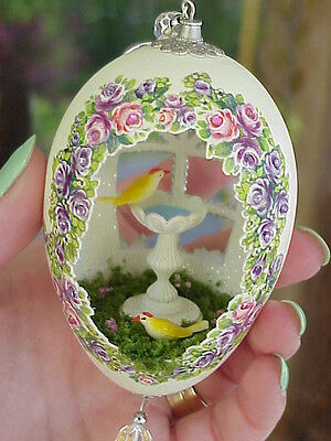 REAL Hand Decorated Carved Goose Egg Ornament Gift Spring Birdbath Collectible