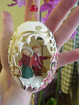 REAL Hand Carved Goose Egg Christmas Gift Collectible Ornament Carolers Polymer