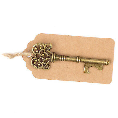 50 Vintage Key Bottle Openers w/ Tags & Twine, Antique Gold Skeleton Keys Favors