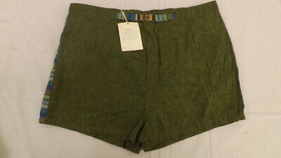 Vtg 60s NOS Swim Suit Med MOD GREEN FLECK Zipper/Buckle Front Surf Shorts/Trunks