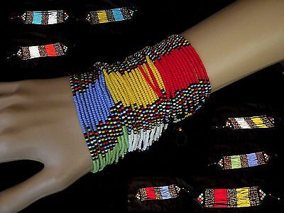 African Zulu jewellery beaded bracelet bangle ladies HAND MADE bright colours