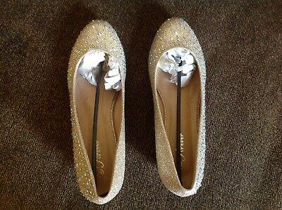 New Womens Rhinestone Jeweled Shoe Wedge Heel Size 10 Special Occasion, Wedding