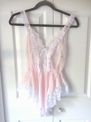 VTG Tosca 80s Pastel Pink Peach Satin Lace Teddy One Piece Nightie Lingerie