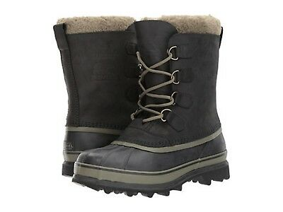 New Men's Sorel Caribou Wool Black / Nori Cold Weather Winter Boots  *NIB*