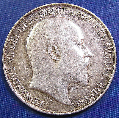 1907 6d Edward VII silver Sixpence: scarce date, strong grade
