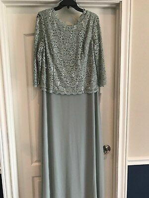 NWT Alex Evenings sage green gown, size 18