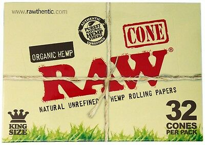 RAW Organic King Size Pre-Rolled Cones, 32 Cones / Full Box of 12 Packs