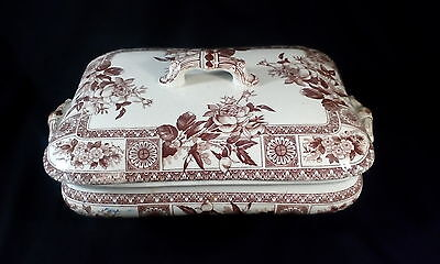Antique Wallis Gimson Aesthetic Brown Transferware Covered Serving Dish Garfield