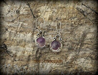 Gotland Earrings Amethyst 10 mm Sterling Silver Amethyst Handmade Earrings