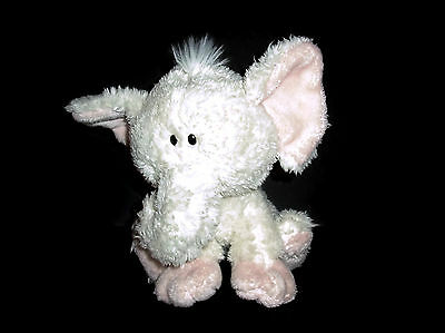 "9.5"" FAO Schwarz SMALL Melvin Elephant Plush Cream Pink Stuffed Animal Lovey Toy"