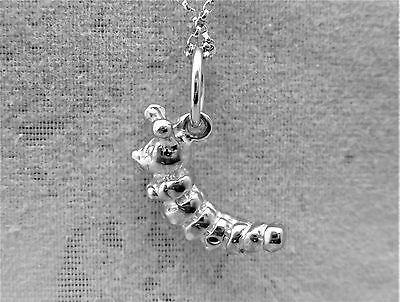 """Sterling Silver (925)  Solid 3D Charm """" Caterpillar"""""""