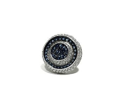 Fabulous Crystal Blue Crystal Sterling Silver Ring Size 7